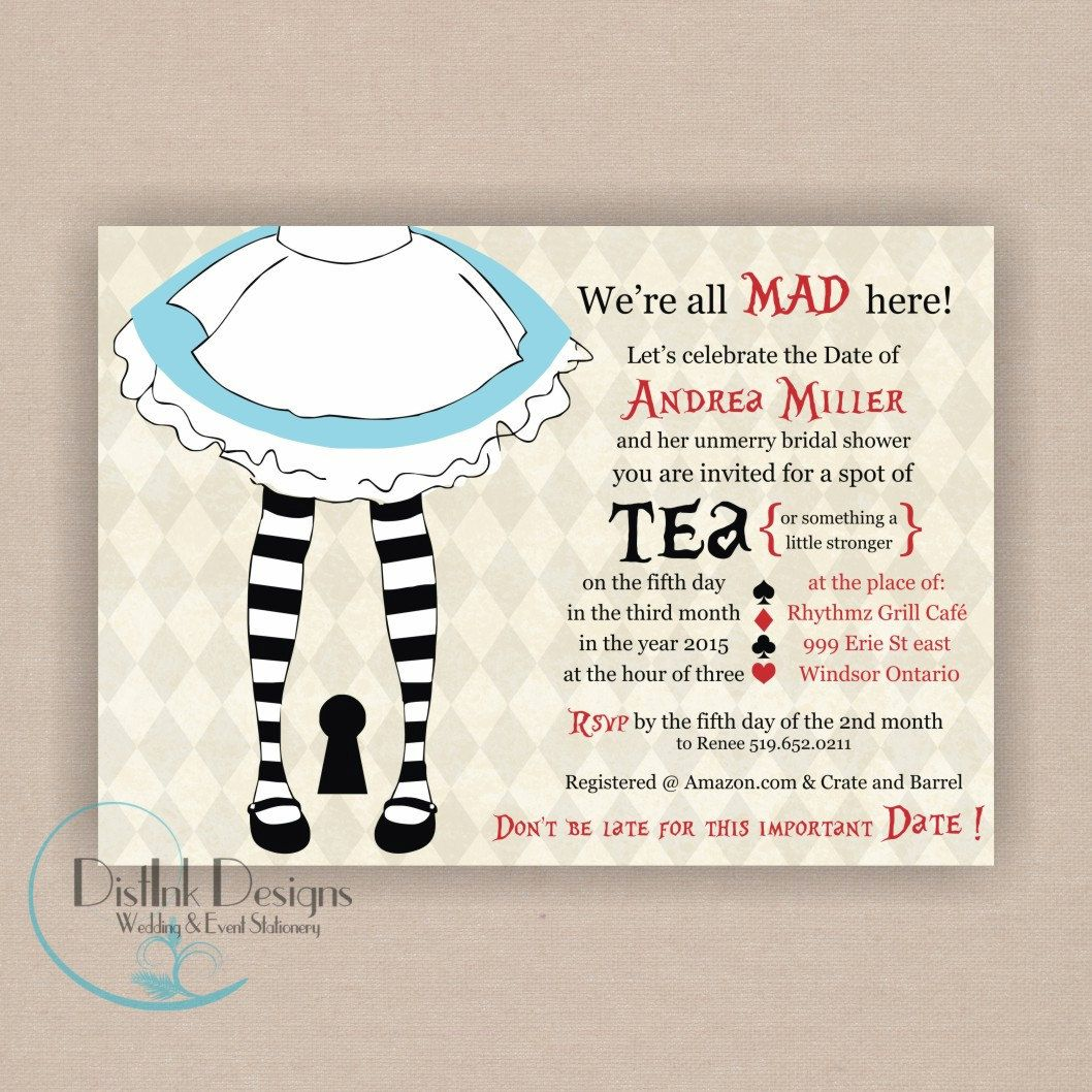 Alice In Wonderland Mad Hatter Bridal or Baby Shower Invitation - Printable 5x7 CUSTOMIZE the COLORS. $16.35, via Etsy.