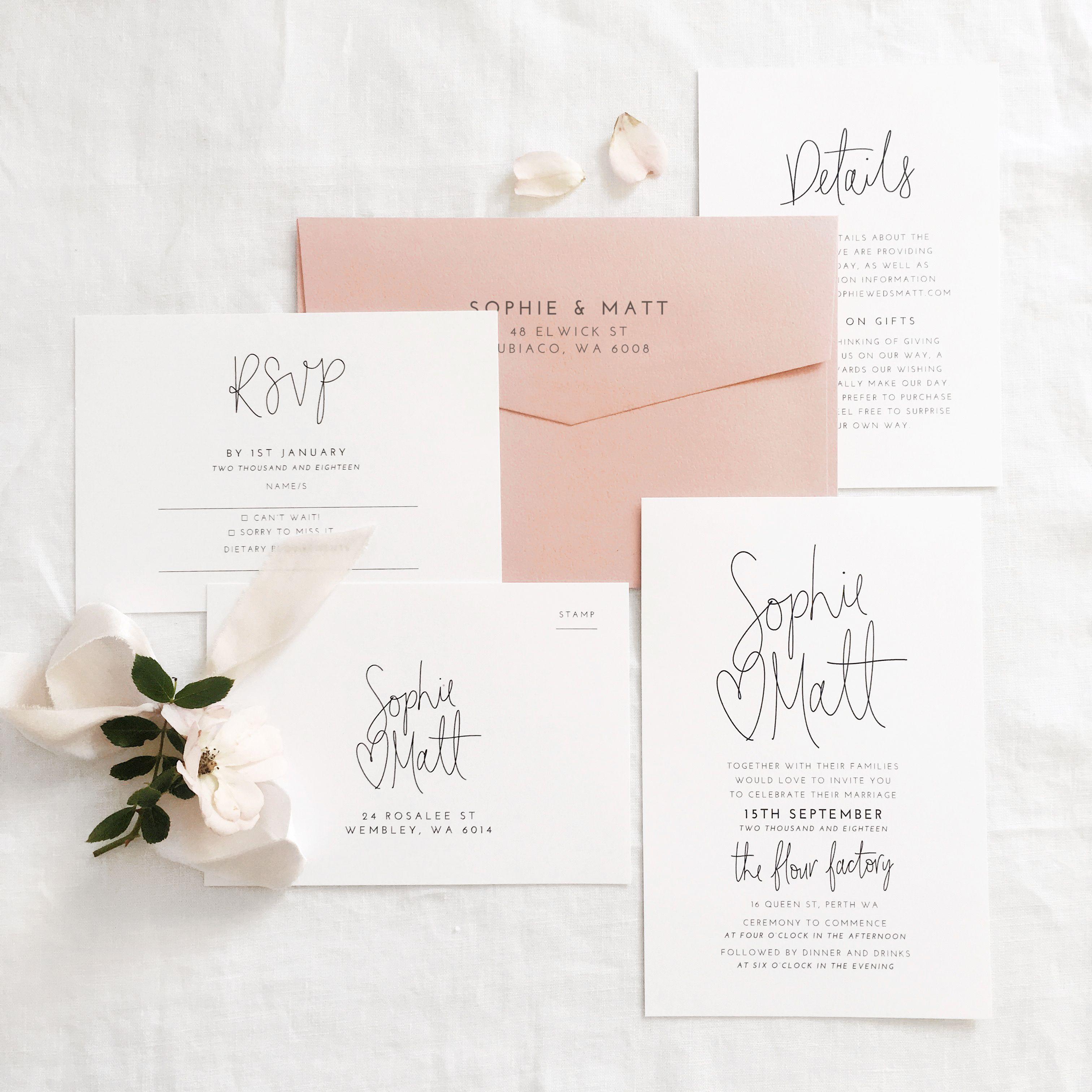Hand Lettered Wedding Invitation Suite