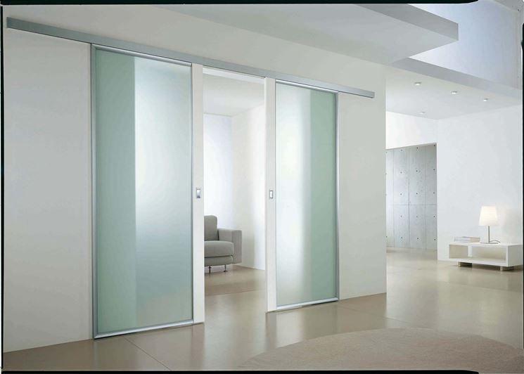 Porte scorrevoli in vetro esterno muro | Porte vetro ...