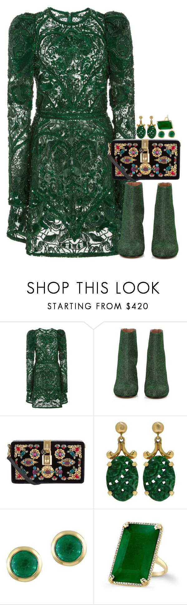 """""""Green goddess"""" by seventeene ❤ liked on Polyvore featuring Elie Saab, Maison Margiela, Dolce&Gabbana, Effy Jewelry and Anne Sisteron"""