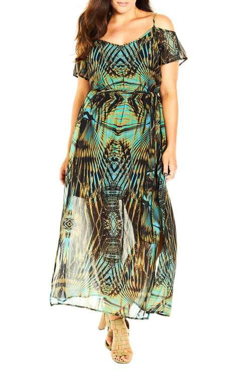 City Chic 'Super Palm' Print Cold Shoulder Maxi Dress (Plus Size)