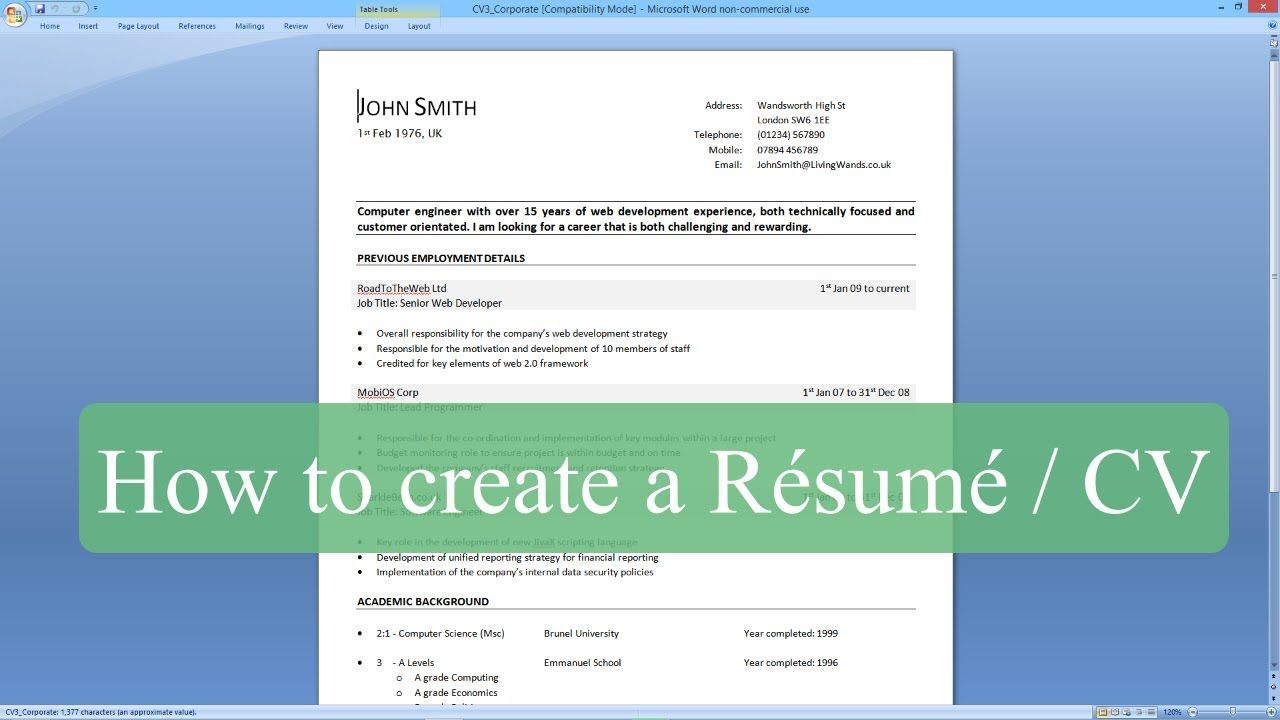 How To Write A Resume  Cv With Microsoft Word  Ae
