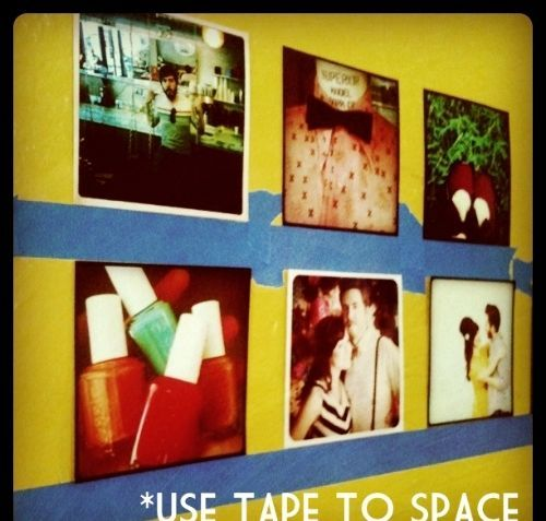 Use painter's tape to plan wall groupings