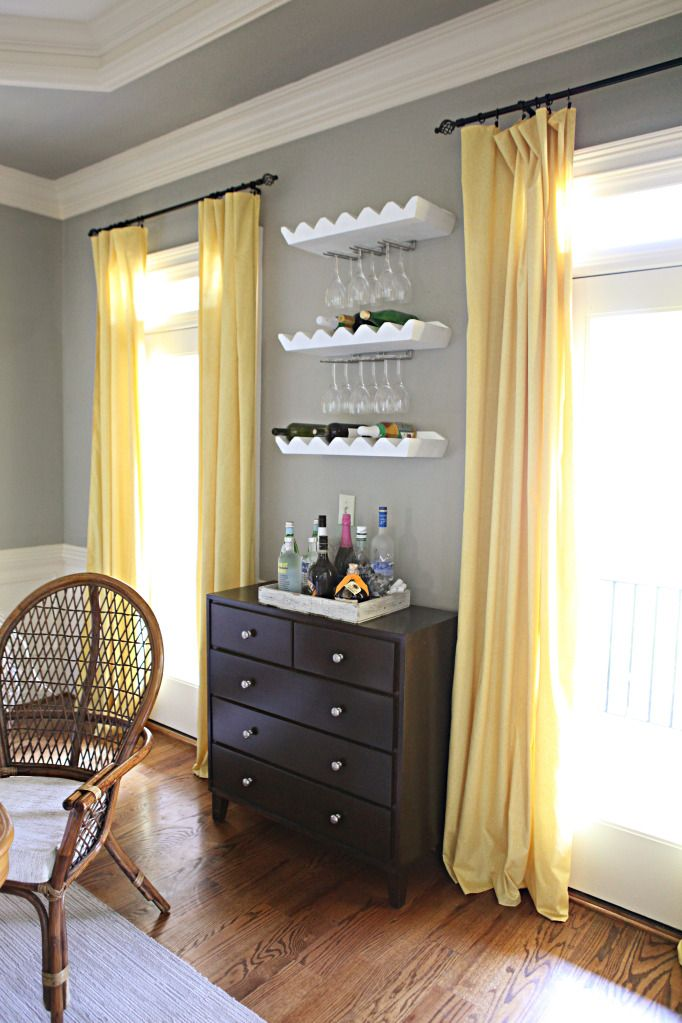 Going for the gold wine glass storage dining room curtains and wine rack - Grey and yellow room ...