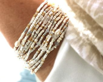 Peridot, Iolite and Pearl Extra Long Seed Bead Wrap Bracelet