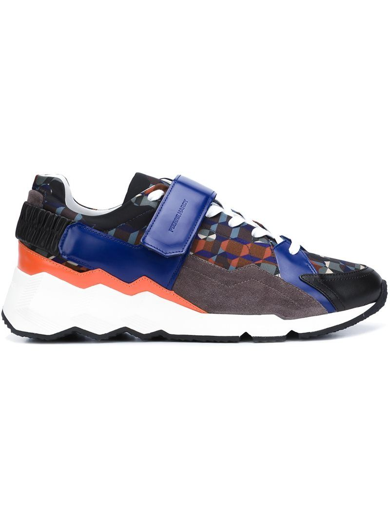 Pierre Hardy 'Comet' Forest Camocube print sneakers, Men's, Size: 42, Blue, Nylon/rubber