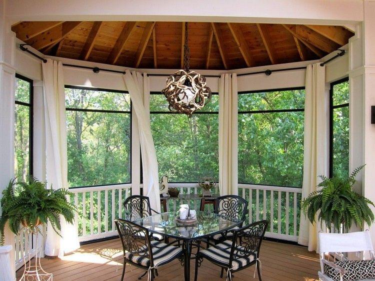 rideau véranda, fenêtres en saillie, plafond bois, meubles en fer - meuble en fer design