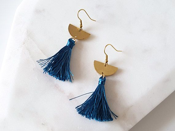 Teal Tassel and Raw Brass Half Circle Dangle Drop Earrings | High Quality Tassel | Handmade Statement Earrings | Gift for Mum, Sister