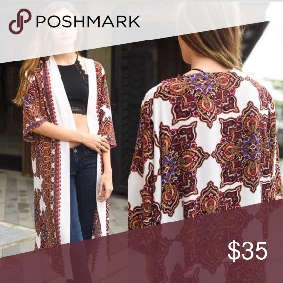 Long Bohemian Printed Kimono New Long Bohemian Styled Kimono   Maxi Length   One Size Fits Most WILA Jackets & Coats Capes
