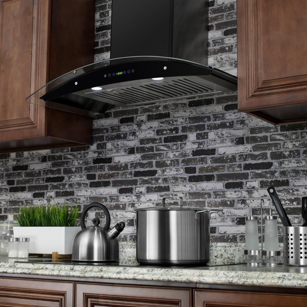 Akdy 36 In Convertible Wall Mount Range Hood In Black Painted Stainless Steel With Tempered Glass And Remote Control Rh0318ds The Home Depot Range Hood Kitchen Exhaust Wall Mount Range Hood