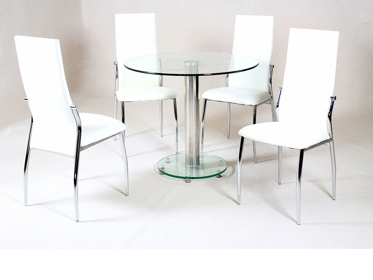 Round Glass Table And Cream Chairs   http://argharts.com   Pinterest ...