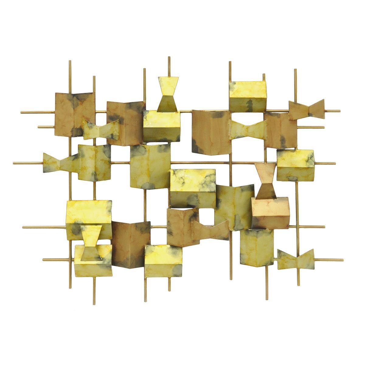 Three Hands Geometric Metal Wall Decoration - Gold Tones | Three ...