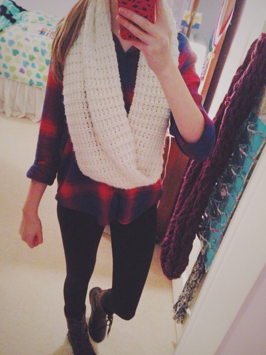Flannel outfits with leggings  OOTD AE flannel leggings combat boots and an infinity scarf