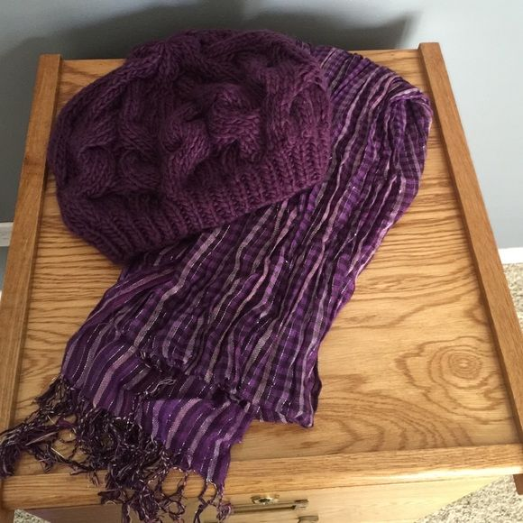 Purple Hat and Scarf Bundle Slouchy knit hat from Aldo. Not sure where the scarf is from. ALDO Accessories Gloves & Mittens
