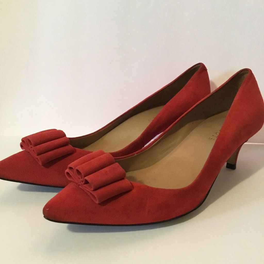 Talbots Retro Red Suede Bow Kitten Heel Pump 9 5 Suede Bow Kitten Heel Pumps Pumps Heels