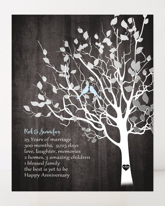 Silver 25th Wedding Anniversary Gift Family Tree Faux Wood Print