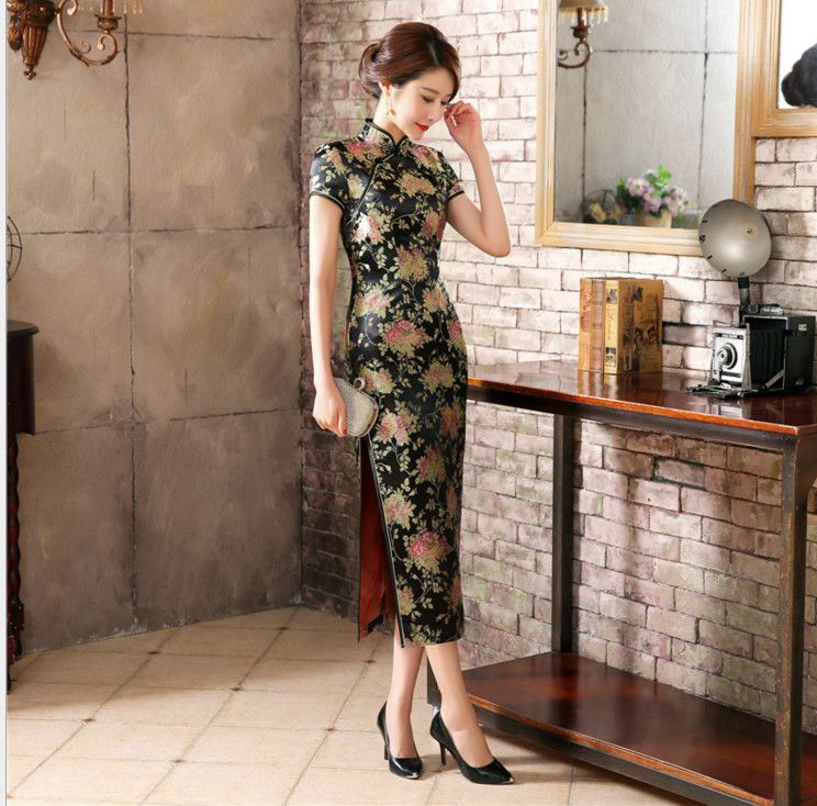 d610417be8e Chinese Women s Sexy Black Long Flower Dress Traditional Satin Qipao  Cheongsam Casual Largo Vestidos S M L XL