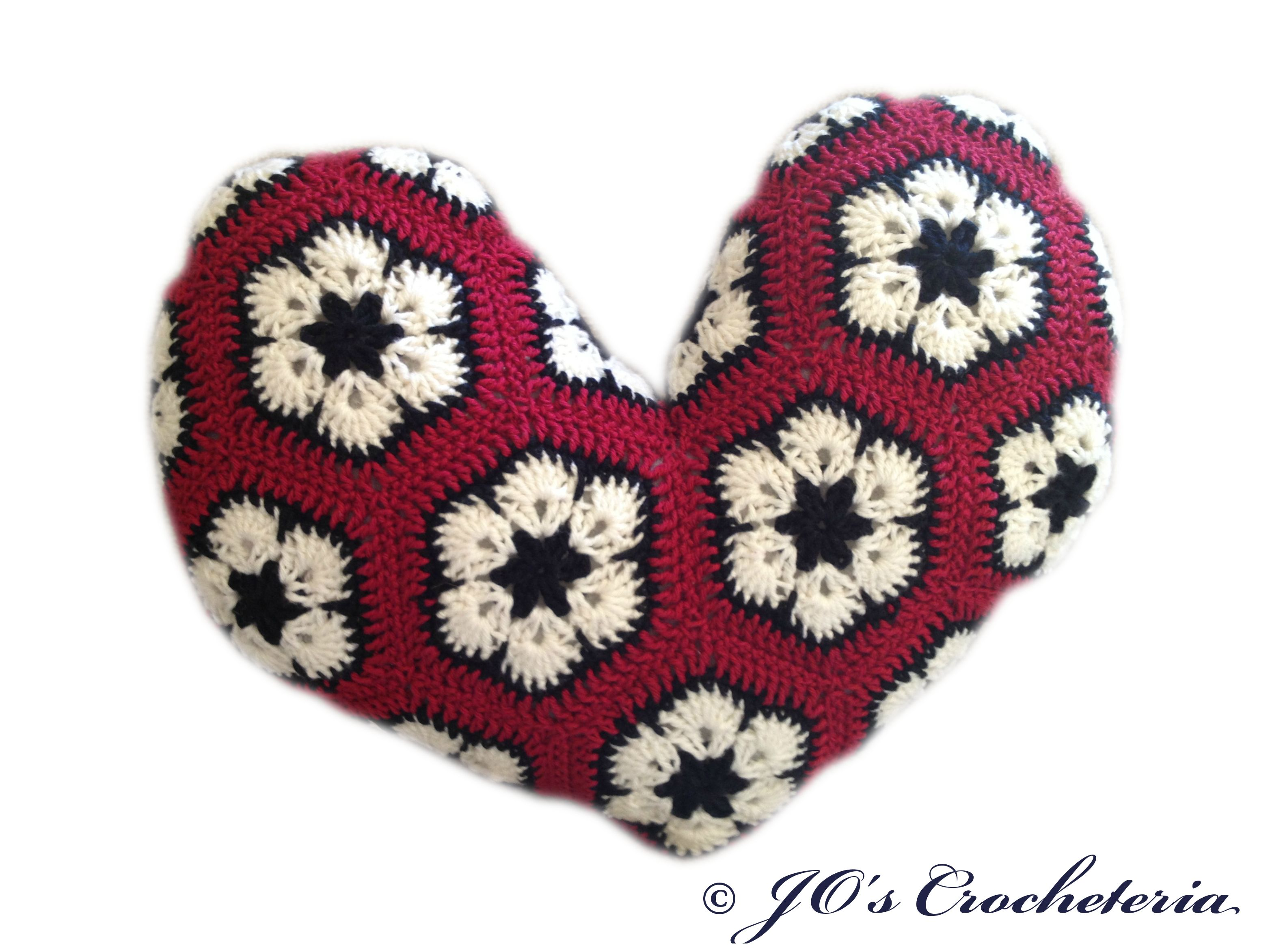 Free Crochet pattern - African Flower Heart Pillow by JO\'s ...