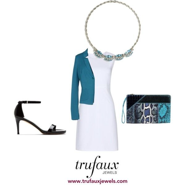 Play up the aquamarine in this 1950s necklace by adding this color in a blazer and clutch.