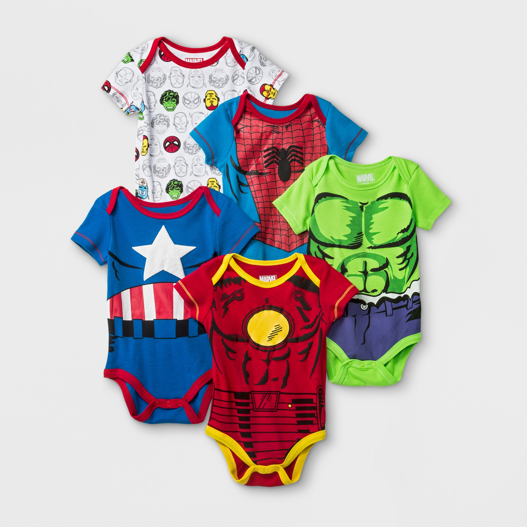 USA FREE SHIP New Baby Super Kids Costume SHORT Iron-Man Captain America 6-18M