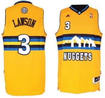 denver nuggets 3 ty lawson revolution 30 swingman yellow jersey
