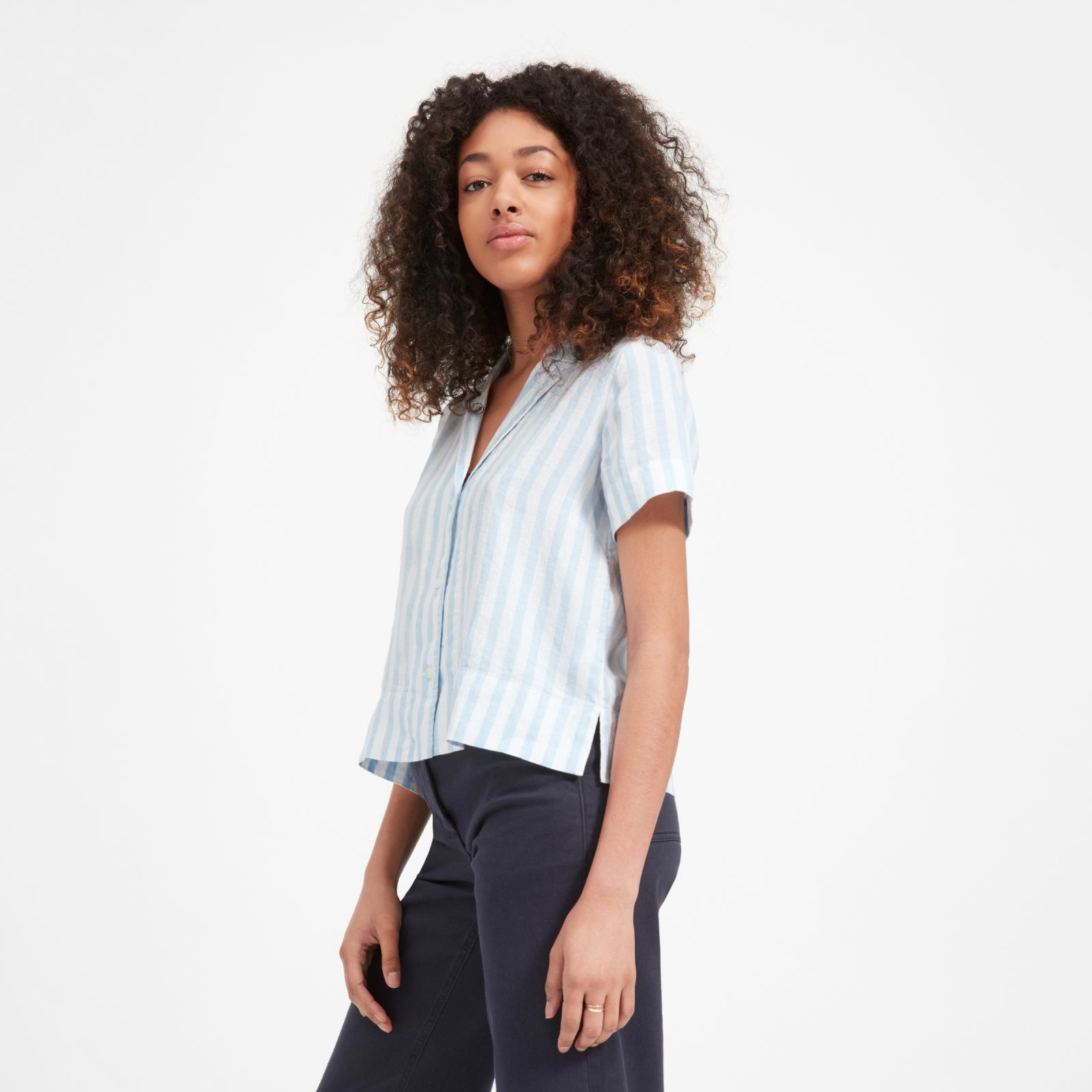 eed4614f3afe21 Women's Linen Notch Short-Sleeve Shirt by Everlane in Blue / White ...