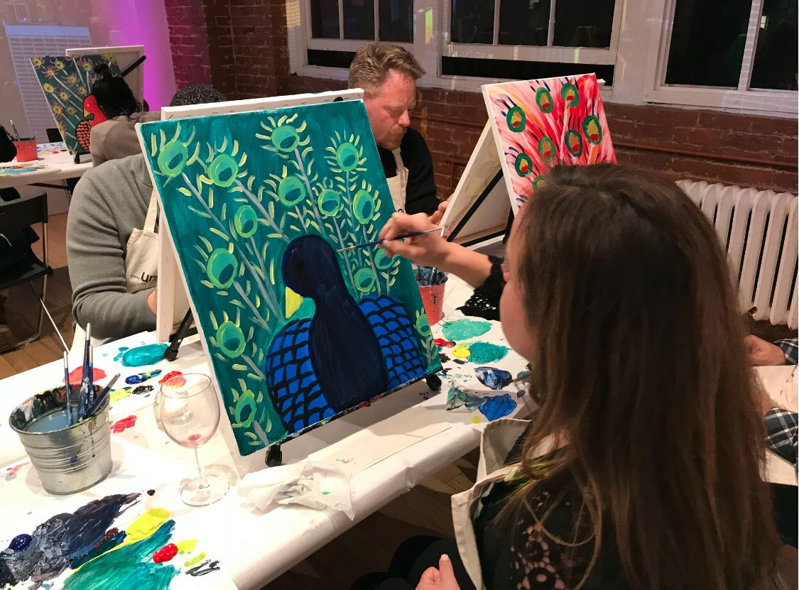 At Paint And Sip You Get To Create While Drinking Your Favorite Glass Of Wine Paint And Sip Wine Art Wine Painting