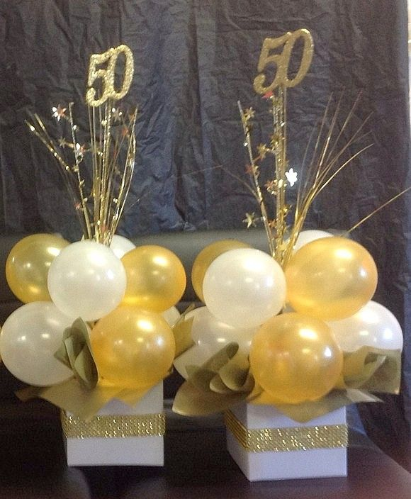 21st Wedding Anniversary Gift Ideas: A Fun Centerpiece For A 50th Anniversary. #50thcenterpiece