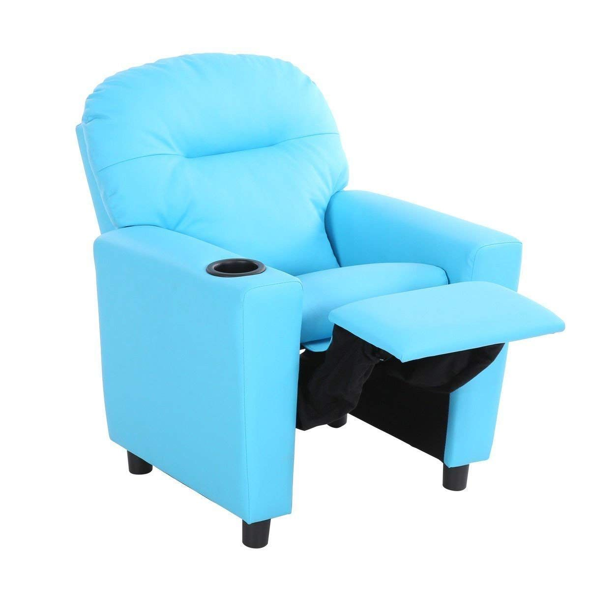 Costzon contemporary kids recliner pu leather lounge