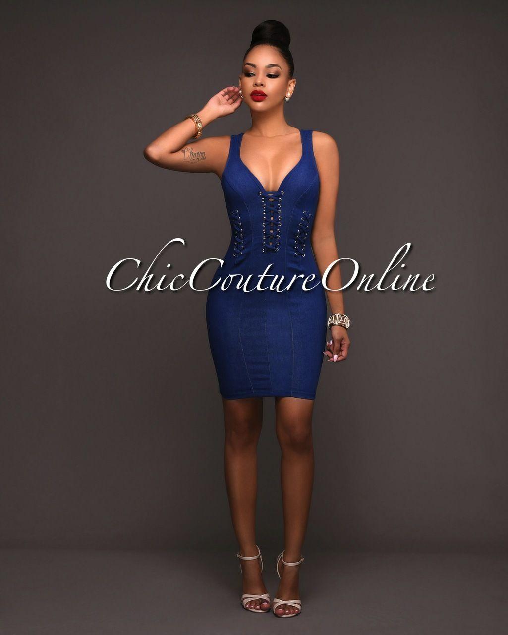 e66206a557b96 Chic Couture Online - Kezia Medium Wash Denim Lace-up Design Dress