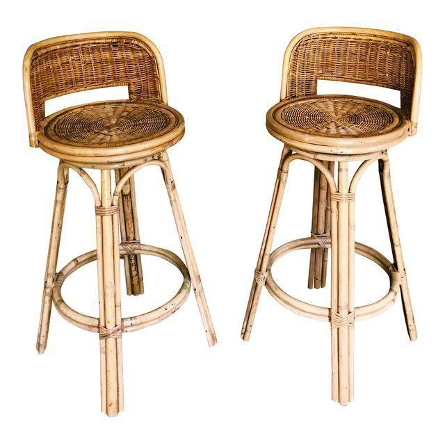 Vintage Boho Rattan Bamboo Swivel Bar Stools A Pair Swivel