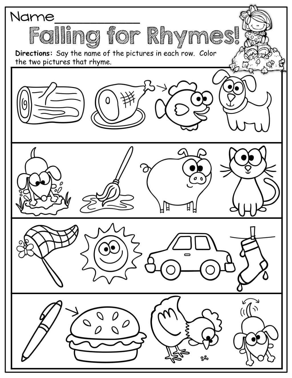 worksheet Kindergarten Rhyming Worksheets repinned by myslpmaterials com visit our page for free speech susan akins posted rhyming words to their preschool items postboard via the juxtapost bookmarklet