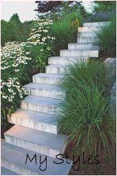 Blick auf den Garten: 26 einzigartige Treppen im Gartenhang O50p #garten #landschaftsbau #steine