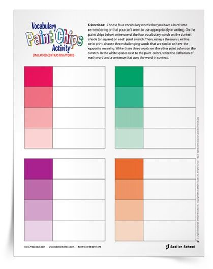 Building Vocabulary Skills with a Paint chips Printable Worksheet ...