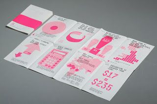 When folded the broadsheet has a fluorescent pink paper band placed around it which is the same colour used on the broadsheet tying them together. The band also has type on it which is lasercut out of the paper.