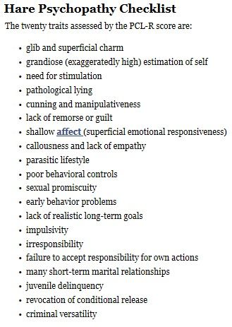 Image result for psychopathy checklist