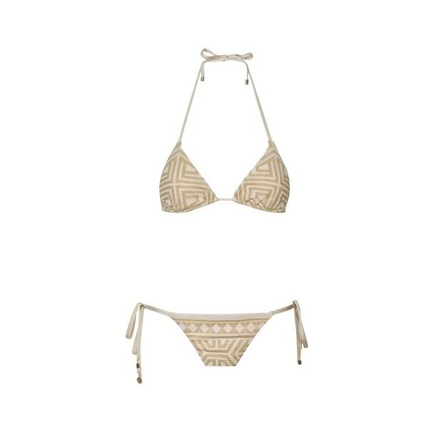 c0d7092348 MITOS SWIMWEAR Gold Ariadne Trinity Triangle Bikini ❤ liked on Polyvore  featuring swimwear