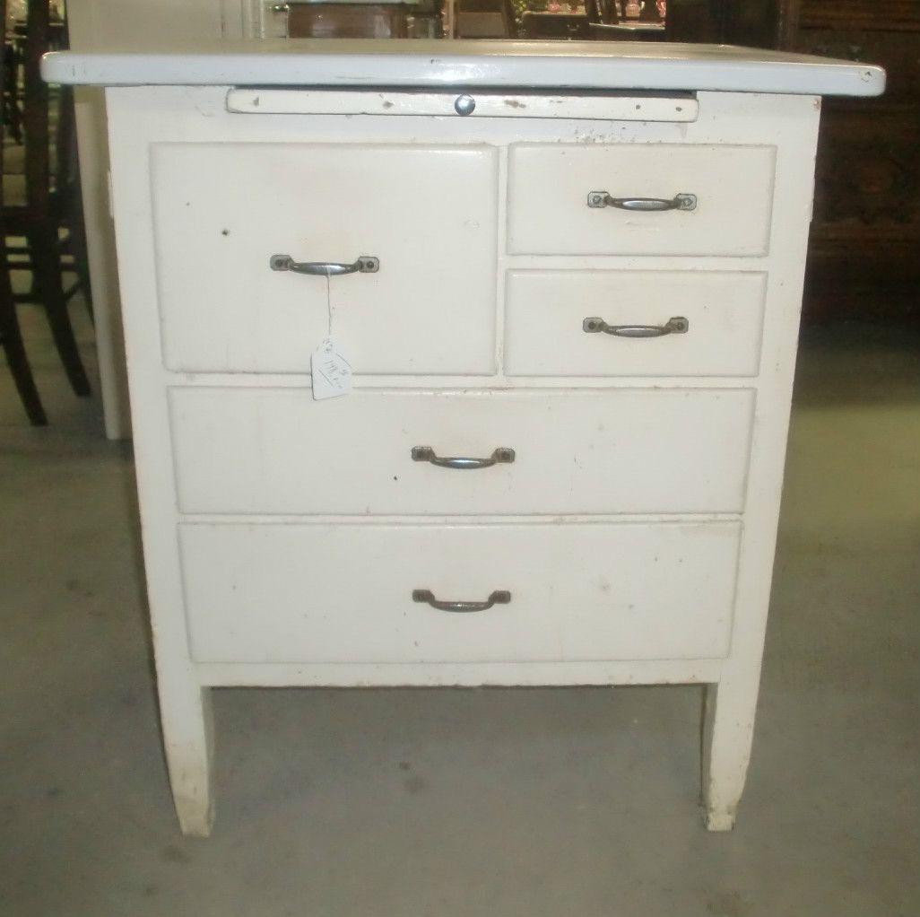 Details About Vintage Kitchen Island Work Station Enamel