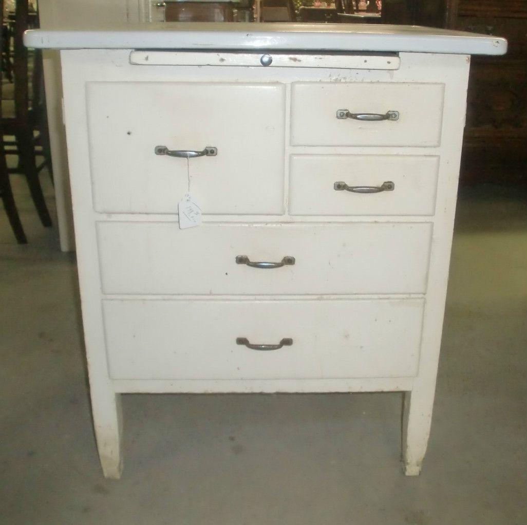 Vintage Kitchen Island Work Station Enamel Top Cupboard Cabinet ...