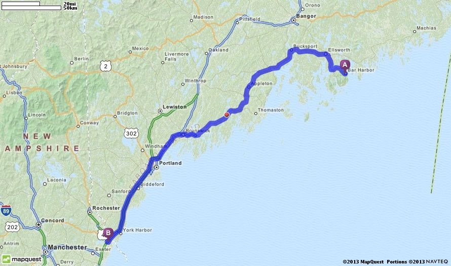 Maine Map Quest.Driving Directions From Bar Harbor Maine To Portsmouth New