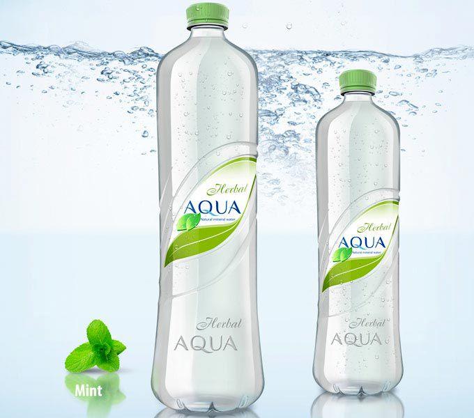 Herbal AQUA mineral water bottle and label design package design ...