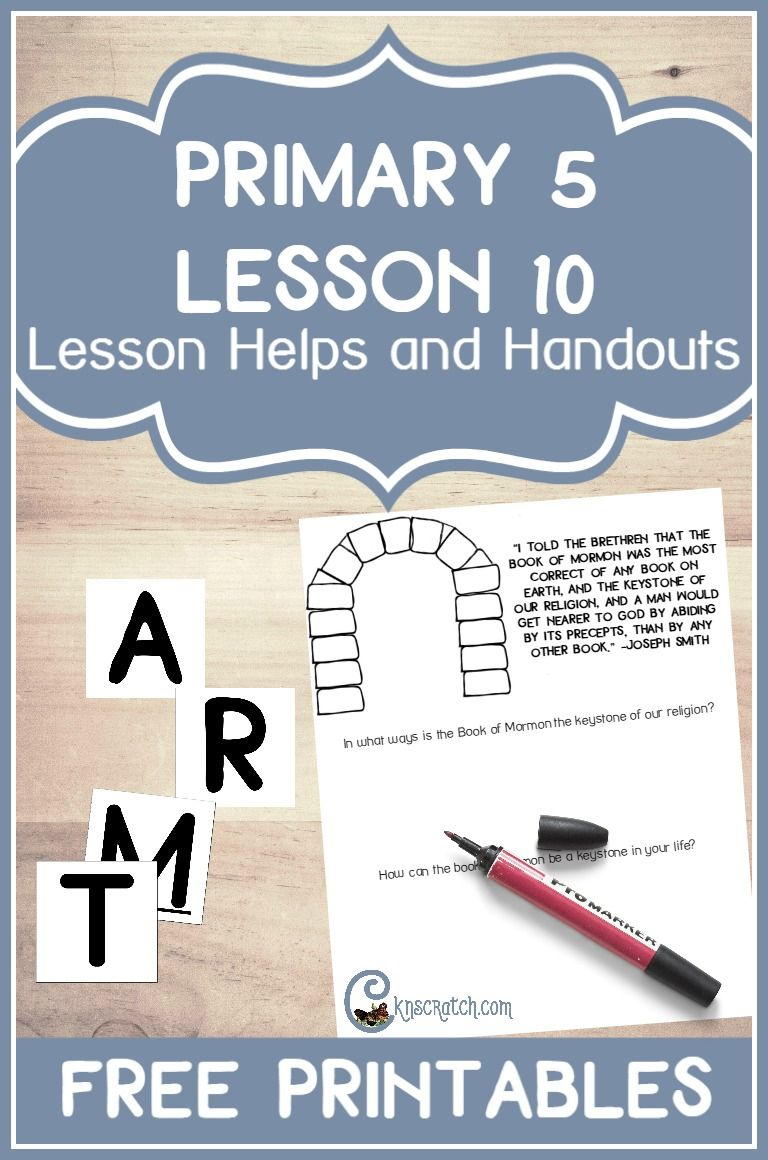 Great LDS lesson helps and handouts for preparing to teach Primary 5 Lesson  10: The Book of Mormon is Published