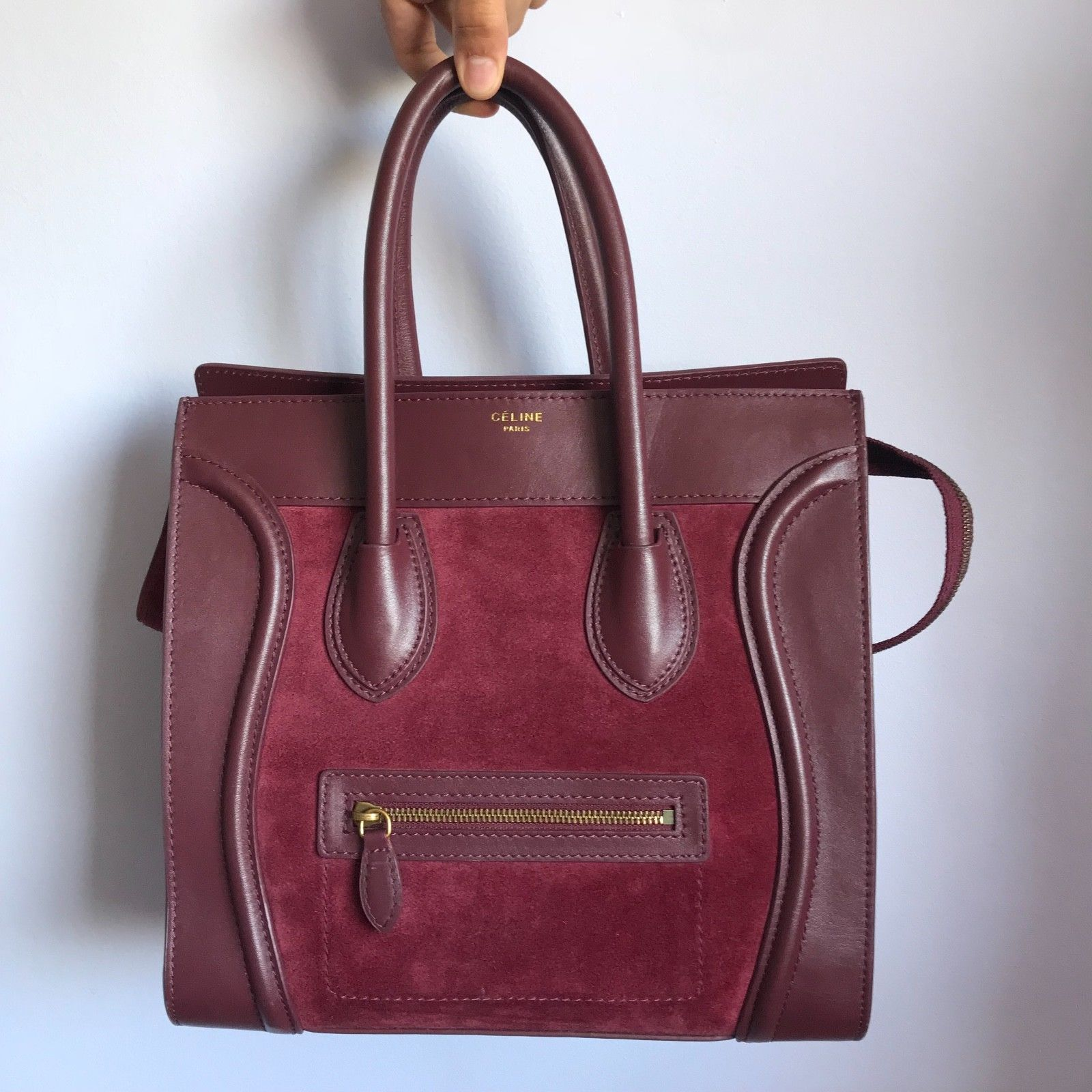 5fca36a368 Details about Auth CELINE Luggage Mini Shopper Light Brown Leather Tote Bag