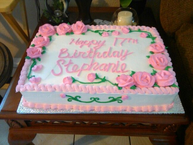 1 2 Sheet Birthday Cake With Pink Roses With Images Birthday