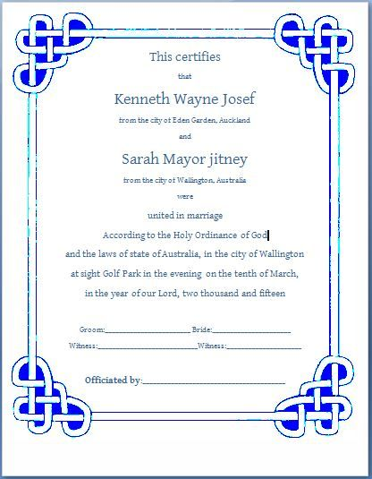 10+ Marriage Certificate Templates Free Printable Word  PDF