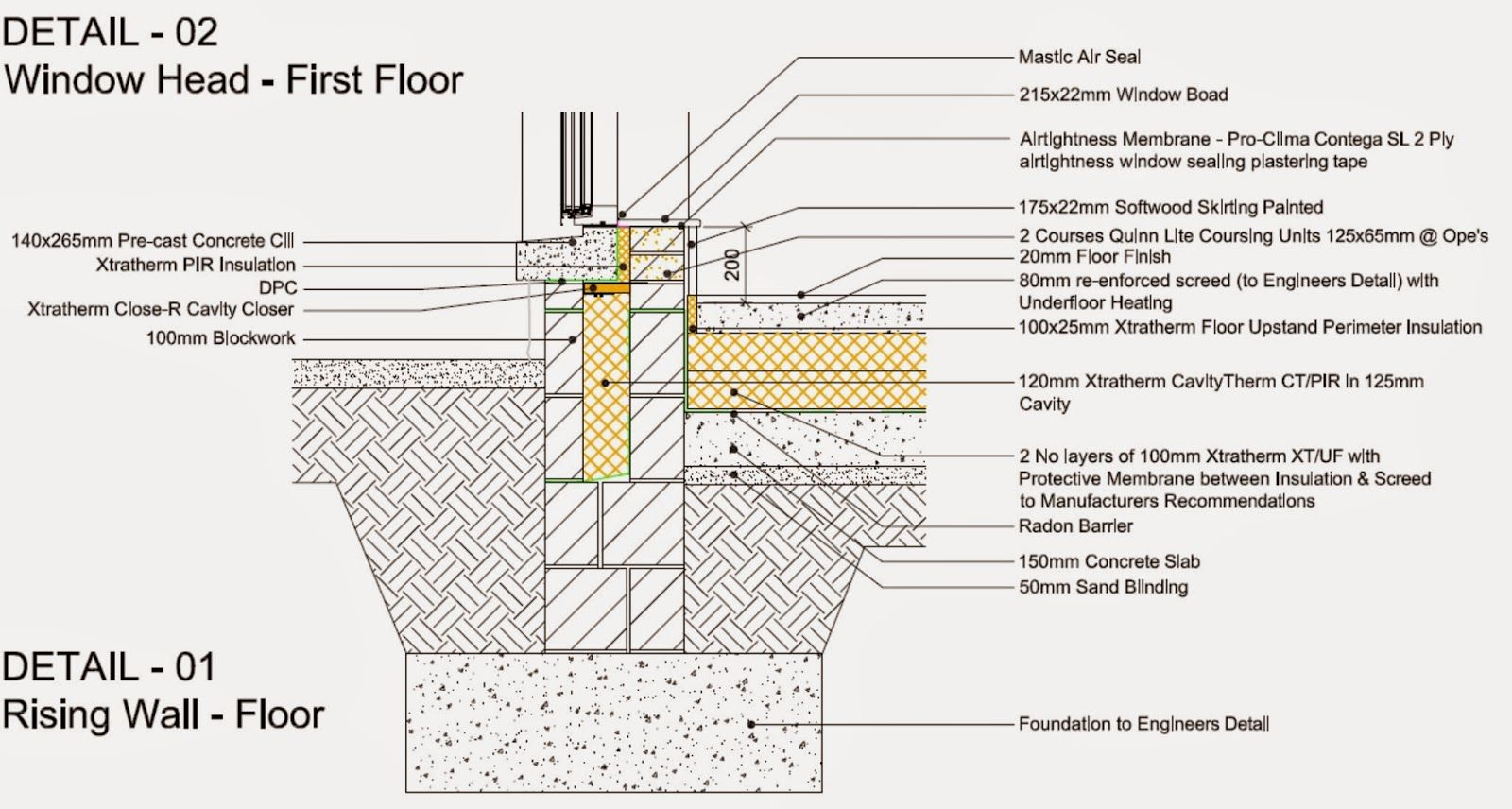 The Details For The Passive House Rising Walls Passive House Wall Floor Finishes