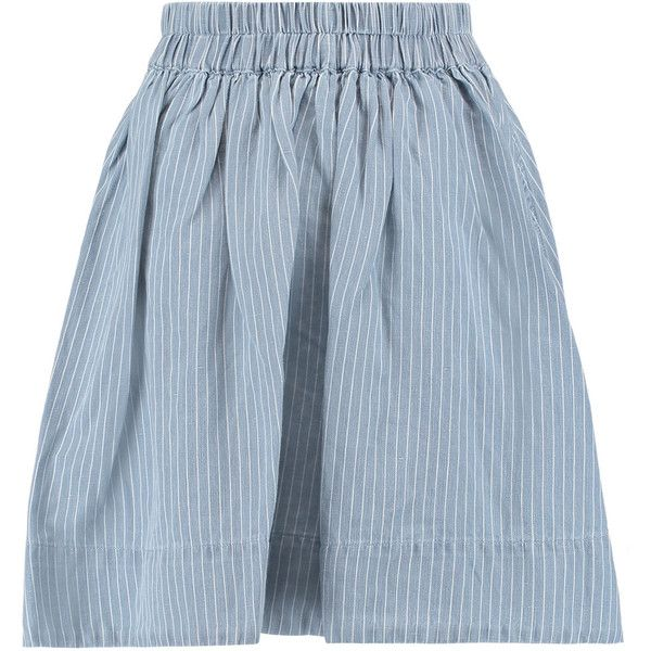 Marc by Marc Jacobs Striped cotton and linen-blend skirt (6,875 INR) ❤  liked on Polyvore featuring skirts, sky blue, knee length skirts, elastic  skirt, ...