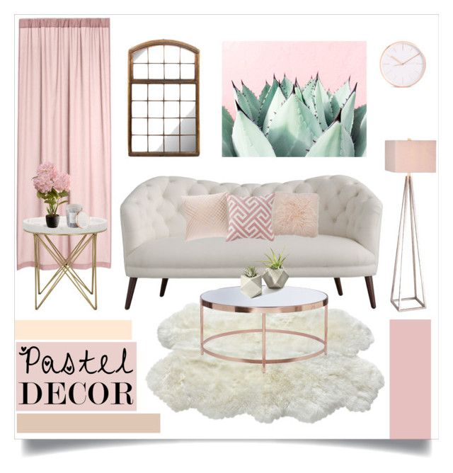 """Pastel Decor"" by fashionfreakforlife ❤ liked on Polyvore featuring interior, interiors, interior design, home, home decor, interior decorating, M&Co, JAlexander, National Tree Company and D.L. & Co."