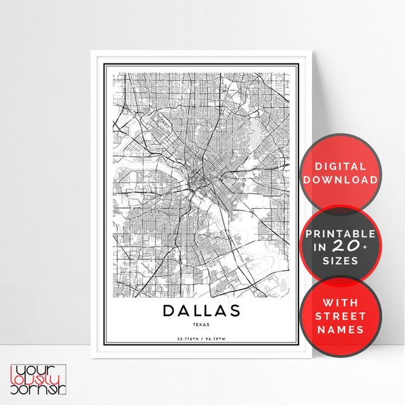 Dallas Map Print, Dallas City Map Print, Map Gifts, Map As ... on north dallas street map, uptown dallas map, dallas & surrounding ar4ea map, dallas city il, dallas tollway map, dallas city map zoom, downtown dallas street map, dallas city hotels, dallas local street map, dallas street map.pdf, dallas city airport, dallas texas, dallas city town, dallas tx map, dallas museum map, dallas city map downtown, dallas city and suburb map, dallas city district map, dfw map, dallas highway map,