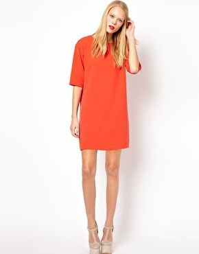 Orange Shift Dress With 34 Sleeves Pretty Things To Wear